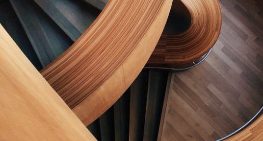 winding wooden stairs